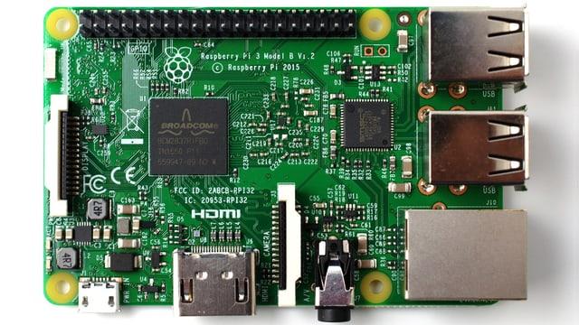 DIe Platine eines Raspberry-Pi-3-Mini-Computers.