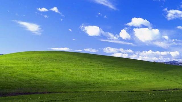 Der Standart-Desktophintergrund von Windows XP mit einem ursprünglich für den Weinanbau genutzten Hügel, der wegen einer Pflanzenseuche mit Gras bedeckt war.