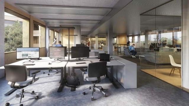 Blick in ein Büro mit verschiedenen Arbeitsplätzen (Visualisierung)