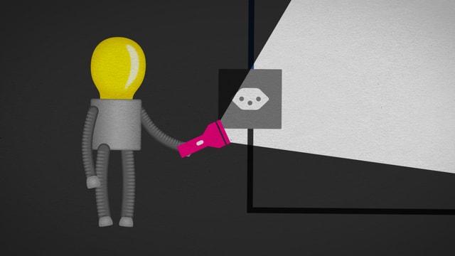 """Eine Glühbirnen-Figur mit Stromkabel und dem Schriftzug """"Strom, was ist das?"""""""