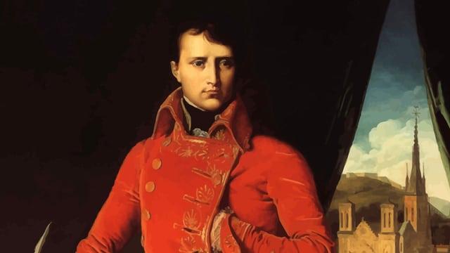 Gemälde: Napoleon in rotem Anzug vor einem Fenster