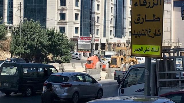 Baustelle an einer Strasse in Amman.