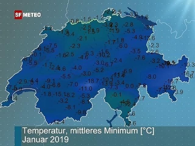 Schweizkarte mit Mittelwerten der Temperatur für Januar 2019.