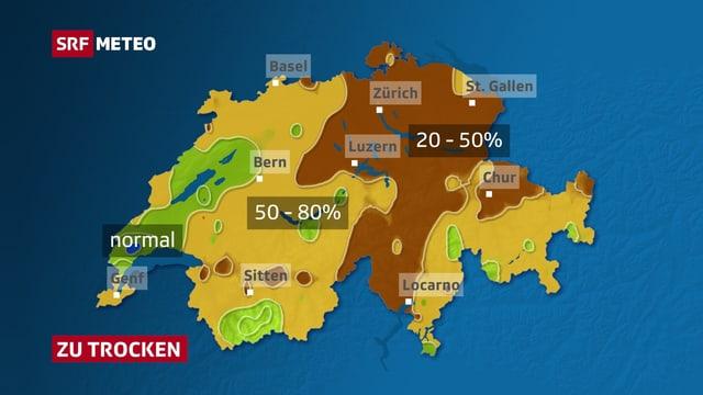 Karte mit den Niederschlagsabweichungen des Juli 2018.
