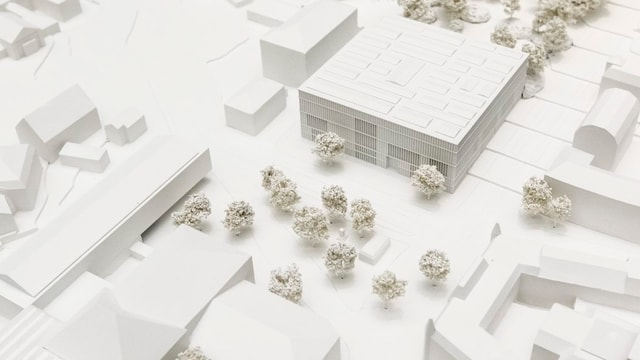 Modellansicht des Zürcher Kunsthauses und der geplante Erweiterungsbau.