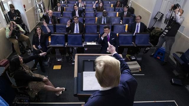 US-Präsident Trump vor Journalisten im Pressesaal des Weissen Hauses