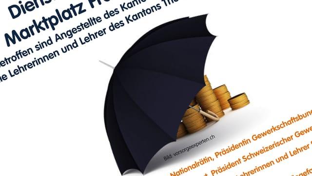 Ein Symbolbild, wo ein Schirm aufgestapelte Münzen schützt.