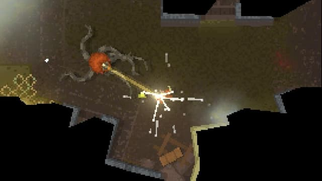Bildschirmfoto des Spiels «Teleglitch – Die More Edition» zeigt wie ein Monster die Spielfigur angreift.
