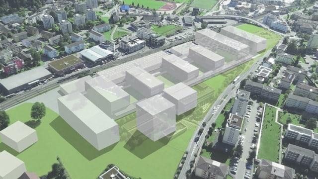 Visualisierung des neuen Campus in Horw.