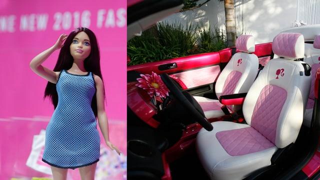 barbie blaua e cabrio rosa