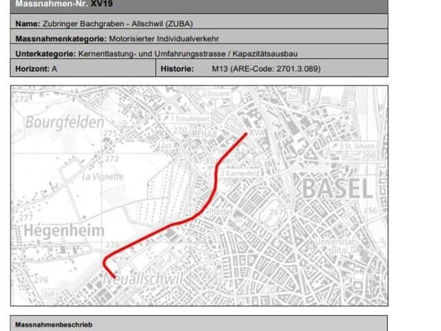 Blick auf eine Übersichtskarte Basel West / Allschwil Bachgraben