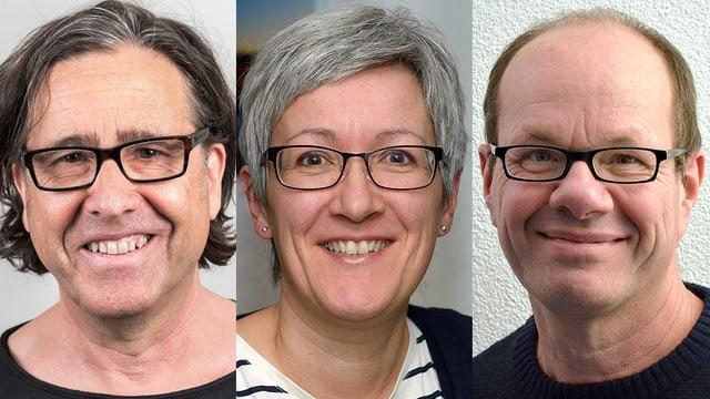 Drei Gesichter nahe: Links Matthias Gysel, Mitte Petra Schneider, rechts Christoph Wick