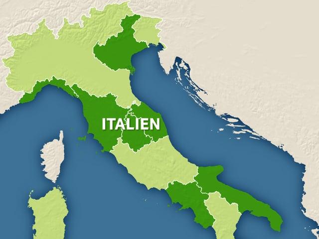 Karte Italiens mit den sieben Regionen.