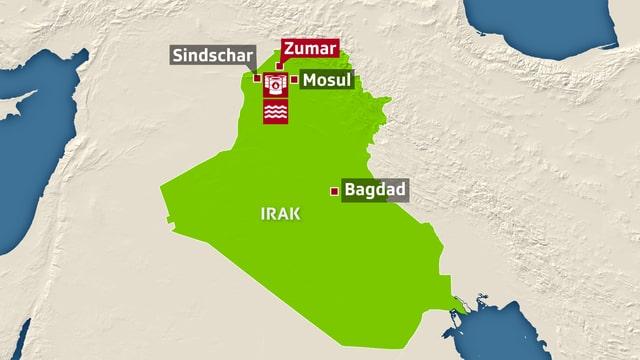 Kart des Iraks, eingezeichnet sind die umkämpften Städte im Nordirak.