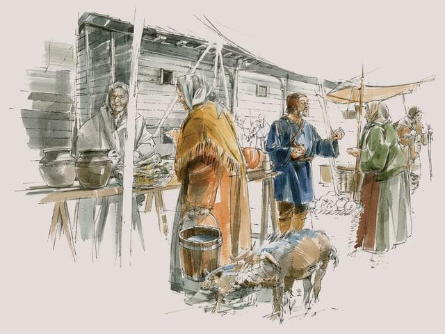 Illustration: Eine Frau mit Kopftuch kauft auf dem Markt ein.