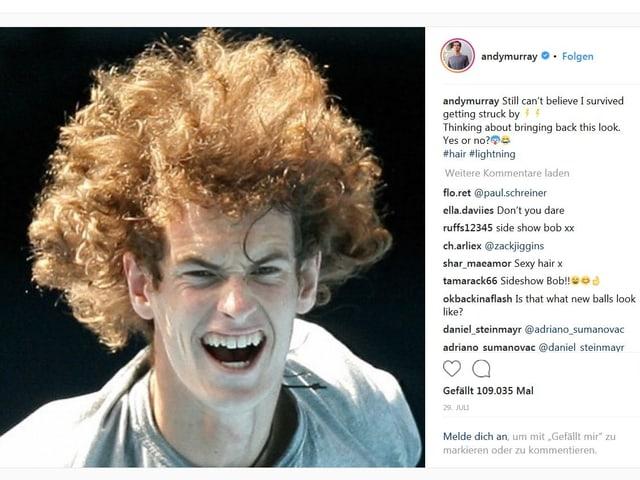 Murray mit spezieller Frisur