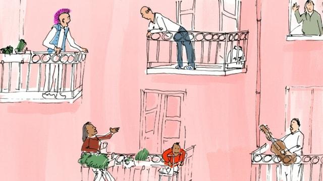 Illustration: Verschiedene Menschen auf Balkonen.