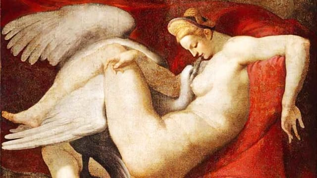 Ölgemälde: Nackte Frau mit Schwan im Schoss.