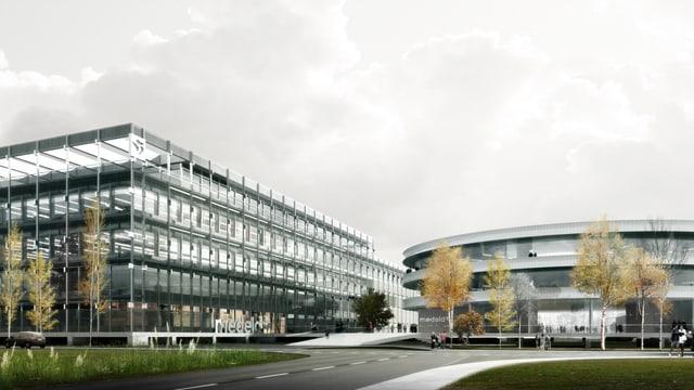 Die Visualisierung eines Fabrikgebäudes.