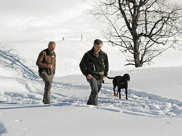 Wildhüter stapfen durch den Schnee.