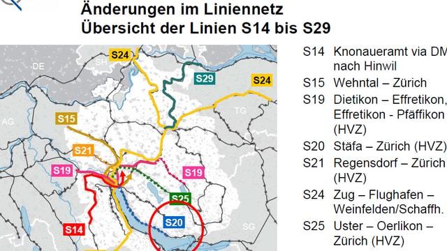 Übersicht der geplanten Änderungen im Zürcher S-Bahn-Netz.