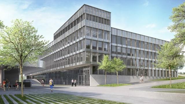 Eine Visualisierung eines grossen, grauen Gebäudes.