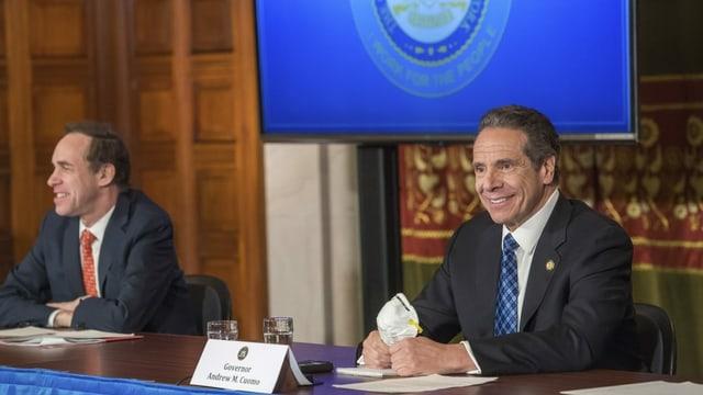 New Yorks Bürgermeister bei einer Pressekonferenz