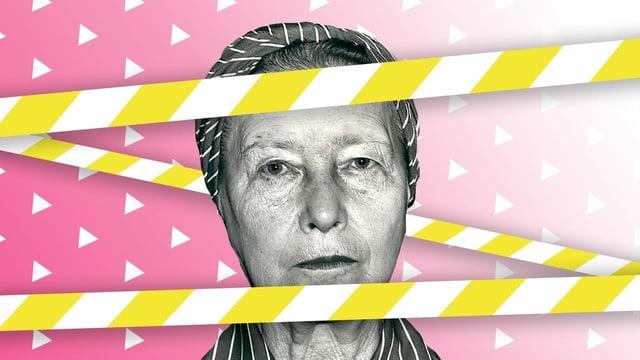 Bildmontage: Portrait von Simone de Beauvoir mit gelben Band