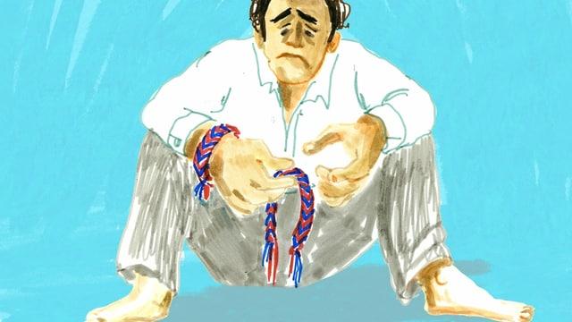 eine Zeichnung von einem traurigen Mann, der ein kaputtes Freundschaftsbändeli hält