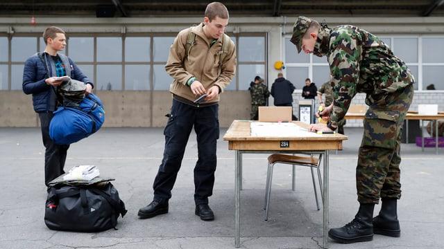 Zwei Rekruten rücken ein, Waffenplatz Thun.