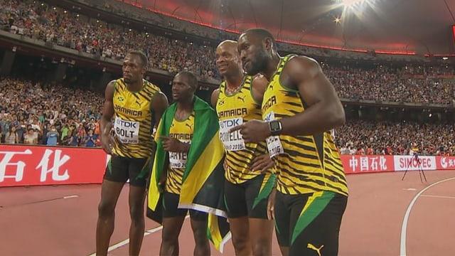 Die Männer-Staffel aus Jamaika macht es den Frauen gleich und gewinnt ebenfalls Gold.
