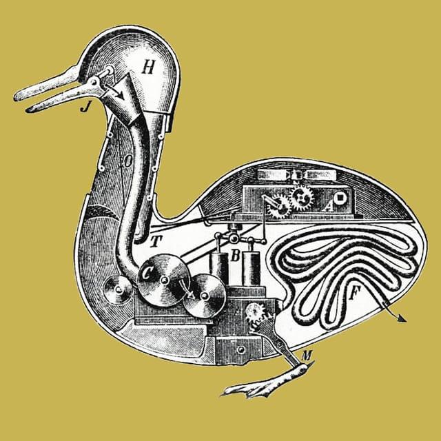 Querschnitt zeigt das mechanische Innenleben einer künstlichen Ente.