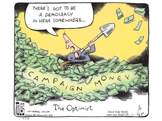 Ein Mann schaufelt Dollarnoten weg