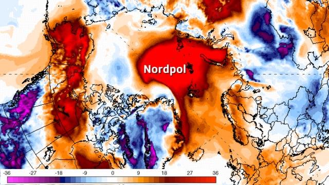 Karte vom Nordpol, rot eingefärbt