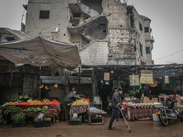 Strassenszene in Idlib, Februar 2021.