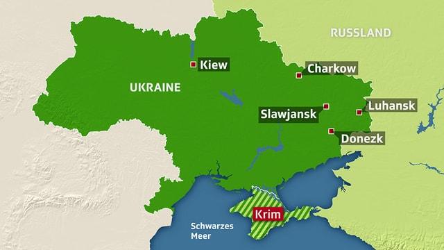 Karte der Ostukraine