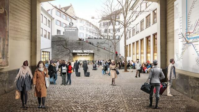 Visualisierung einer möglichen S-Bahn-Haltestelle beim Spiegelhof.