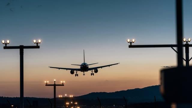 Ein Flugzeug landet.