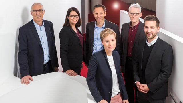 Direcziun RTR: Ladina Heimgartner, Flavio Bundi, Pius Paulin, Tamara Deflorin, Beat Lozza e Gian Ramming