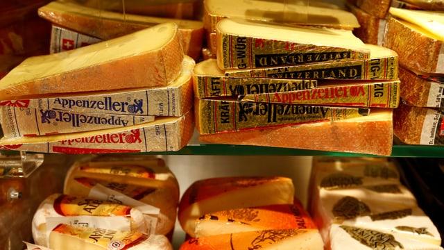 Verschiedene Käsestücke und -sorten in einem Verkaufsregal.