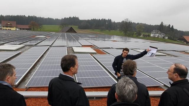 Solaranlage auf dem Dach der Firma Pistor in Rothenburg.