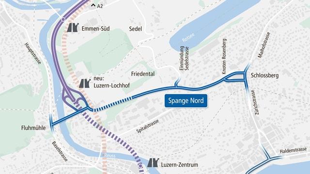 Plan für die Verkehrsführung Spange Nord