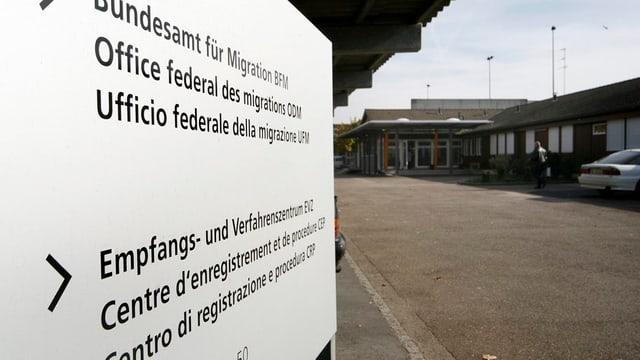Schild des Empfangs- und Verfahrenszentrums Bässlergut.