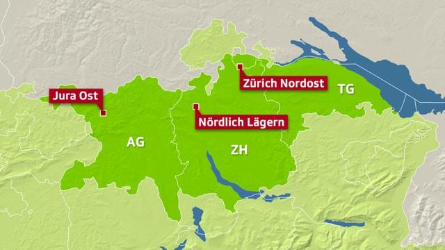 Karte mit drei möglichen Standorten für ein Tiefenlager