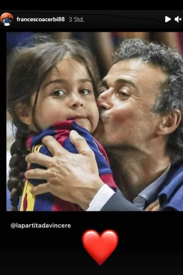 Luis Enrique küsst seine Tochter