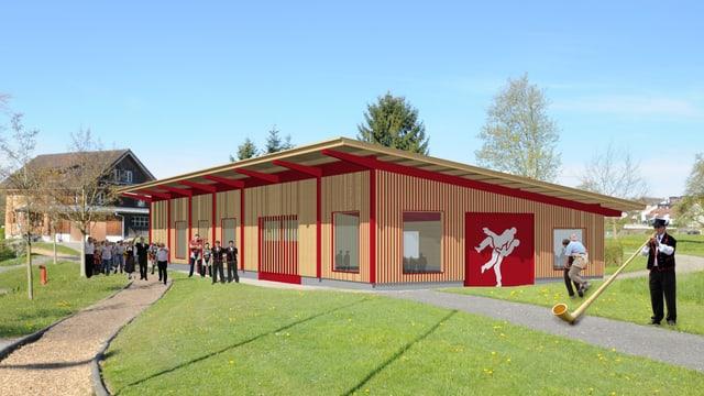 Visualisierung der neuen Trainingshalle des Schwingklubs Rothenburg.
