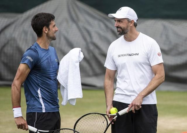 Novak Djokovic (l.) und Goran Ivanisevic.
