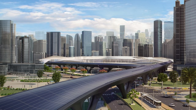 Hyperloop vor einer Skyline: eine Zukunftsmodell von Hyperloop TT.