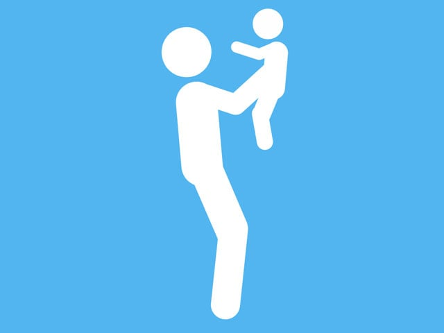 Piktogramm Kind hochheben.