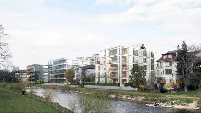 Visualisierung Birsufer mit neuer Wohnung